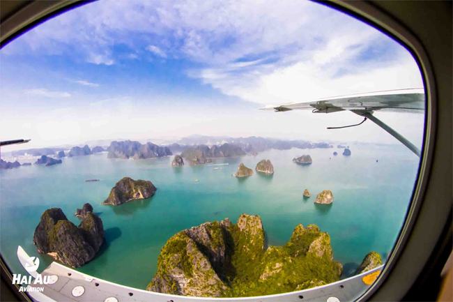 Panoramic view over Halong Bay fromseaplane window